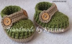Crochet baby shoes for newborn, 0-3 m or 3-6 M from kristine's1986 shop by DaWanda.com