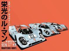 Le Mans Porsche Movie Poster by Kako Righteous Rides World Premier Exclusive Vintage Racing, Vintage Cars, Jaguar, Steve Mcqueen, Grand Prix, Automobile, Le Mans 24, Car Illustration, Car Posters