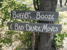 Fun Wedding Reception Double Wood Board Sign on Stake Directional Arrow on Etsy, $36.00