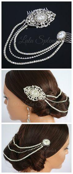 Wedding Hair Accessory Chain Hair Piece Back Hair Chain Swarovski Crystal Bridal Hair Comb STEPHANIE