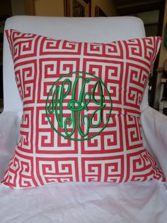 monogrammed greek key...pink and green
