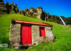 Built On Grassland by OlivierRentsch  atmosphere attractive beautiful blue color colors colours grass grassland green house iceland image