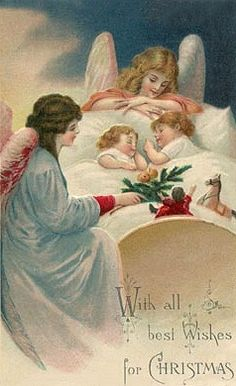 Angels watch over sleeping children in this sweet antique Christmas card.