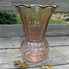 A beautiful vintage Anchor Hocking Glass, pink pineapple vase with ruffled edge…  offered by Rubylane shop Saltymaggie's Treasures