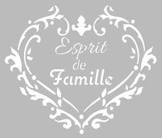 Pochoir Adhésif 22 x 20 cm Coeur Esprit de Famille