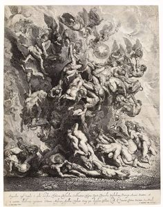 Fall of the Damned; a group of angels, including St Michael holding a shield and flames assault a swirling, tumbling mass of naked bodies who fall to the ground wrestled by a number of devilish figures; after Peter Paul Rubens. 1642 Engraving     After Peter Paul Rubens   Print made by Jonas Suyderhoef