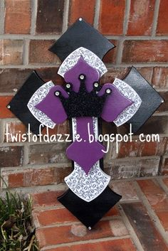 Large Black and Purple Cross with Bling