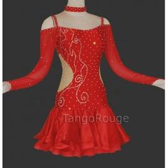 Share me and get 5% off coupon Red Latin Rumba Ice Skating Dance Dress