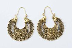 Tribal Brass Earrings Hoops Gypsy Earrings Bohemian by YemayaSoul
