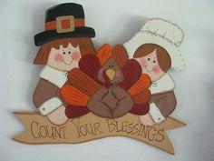 Pilgrims turkey Thanksgiving  wall hanging door by loisling