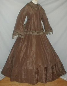 1865 Taupe Silk Traveling Dress - belonged to Anne O'Meany, Stone Ridge, New York 34 bust 26 waist 39 length