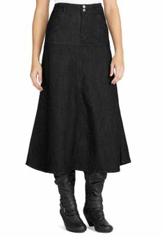 Long Flare Dressy Denim Skirt Skirts Cato Fashions