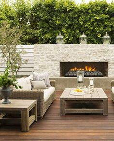 Modern patio fireplace ensures pleasant hours on the private terrace - Wohnen Outdoor - Design Rattan Furniture Outdoor Fireplace Designs, Outdoor Patio Designs, Backyard Fireplace, Backyard Patio, Backyard Landscaping, Outdoor Fireplaces, Patio Ideas, Fireplace Ideas, Fireplace Modern