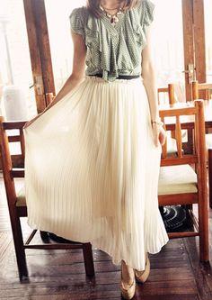 Bohemia Women Dress Pleated Wave Chiffon Maxi Long Skirt