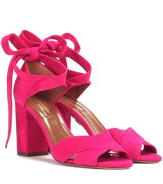 AQUAZZURA - Tarzan 85 sandals - Aquazzura offers a design that is equal parts sensual and elegant with these Tarzan 85 sandals, crafted from suede in shocking pink. The upper is set on a covered block heel, while the crisscrossing straps at the ankle provide the most comfortable fit. Show off yours with long floaty skirts for a seductive finish. - @ www.mytheresa.com