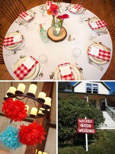 gingham wedding reception | Our reception ♥ #maine wedding, #gingham