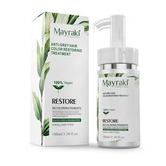 Time to restore your hair's color and shine! Introducing, Mayraki Anti-grey Hair Color RESTORING Treatment effectively moisturizes hair from roots to tips and restores gray/white hair to its original color without damaging the scalp and strands Oily Hair, Moisturize Hair, Grey White Hair, Gray, Grey Hair Treatment, Prevent Grey Hair, Hair Color Techniques, Hair Restoration, Strong Hair