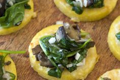 """{Polenta Bites} --- YUMMERS! I've made this several times now --- as a main dish. I also add some chopped bacon - bacon makes everything better! Great """"don't feel like cooking"""" meal to make - lovely for guests --- does NOT disappoint!"""