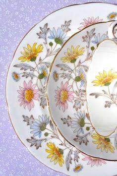 Foley Vintage China Somerset Pattern Teacup Trio