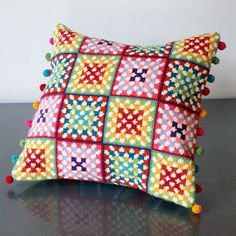 Granny Squares Tapestry Cross Stitch Kit - Copyright Design by Jacqui Pearce, available at JacquiP.com