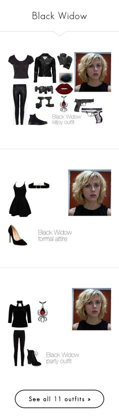 """Black Widow"" by devil-darlin2019 ❤ liked on Polyvore featuring Smith & Wesson, POLICE, Carolina Amato, Converse, Skingraft, VIPARO, Alexander McQueen, Jane Norman, Lime Crime and WithChic"