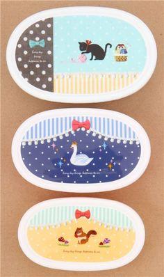 patchwork cat swan squirrel Bento Box 3 pcs lunch box Japan