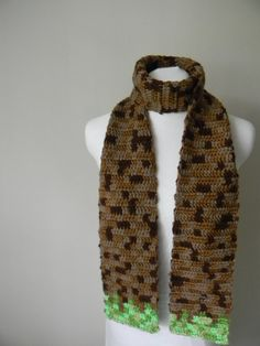 Minecraft Grass Square Scarf by onhooksandneedles on Etsy, $25.00