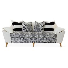 """Kim Salmela Annelise 84"""" Sofa Black/Cream Sofas & Loveseats (€3.280) ❤ liked on Polyvore featuring home, furniture, sofas, sofa, ivory loveseat, ivory sofa, beige sofa, off white sofa and off white couch"""