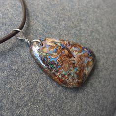 Boulder opal pendant necklace handmade in by NaturesArtMelbourne, $77.00