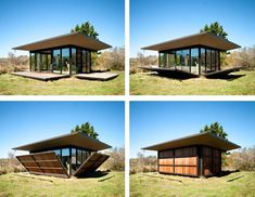 This tiny modern cabin of just 500 square feet was designed by Olson Kundig Architects, located on False Bay, San Juan Islands in northwest Washington State. Bungalow, Moving Walls, Casas Containers, Cabins In The Woods, Design Case, Little Houses, Small Houses, Small Spaces, Architecture Design