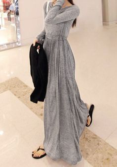 Grey Modal Maxi Dress @LookBookStore