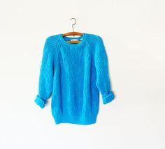 SWEATER SALE Bright Blue Chunky Knit Sweater / by thehappyforest