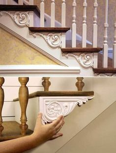 Dress up your stairs with decorative brackets. {wine glass writer} Dress up your stairs with decorative brackets. {wine glass writer} Dress up your stairs with decorative brackets. Retro Home Decor, Easy Home Decor, Cheap Home Decor, Decor Vintage, Inexpensive Home Decor, Elegant Home Decor, Elegant Homes, Stair Brackets, Brackets For Shelves