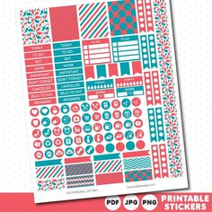 Dark coral and teal weekly planner stickers with headers, full boxes, half…