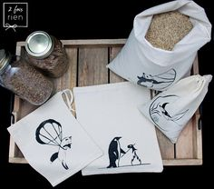 4 Sacs à vrac sacs réutilisables en coton imprimés à la Fibres, Etsy, Tote Bag, Bags, Business, Fashion, Printed Cotton, Unique Jewelry, Products