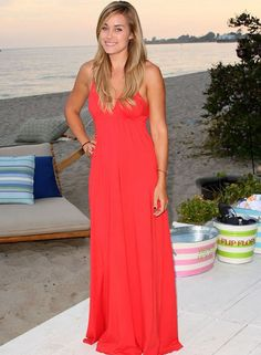 896474332 Lauren Conrad at Silverspoon Beachhouse July 23, 2007 Coral Maxi, Red Maxi,  Coral