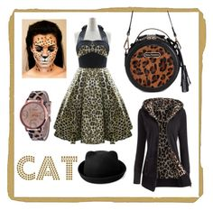 """leopard Halloween cat costume autumn fashion twinkledeals.com"" by beanpod on Polyvore featuring vintage"