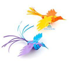 Плетёные птички из бумаги: мастер-класс Такую изящную поделку с радостью изготовит школьник или даже взрослый. Кстати, объемные бумажные птицы чудесно украсят ваш дом в праздник – например, послужат игрушками на елку. #inteltoys #умная_игрушка Easy Kids Art Projects, Easy Art For Kids, Paper Crafts For Kids, Diy And Crafts, Kirigami, Folded Paper Stars, Paper Collage Art, 3d Figures, Origami Paper Art