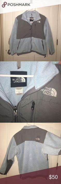 Women's Northface Denali Jacket Authentic North Face brand fleece jacket. Baby blue and gray North Face Jackets & Coats
