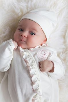 Baby Girl Coming Home Outfit, Kendra Ruffled Side Snapped Footed Sleeper, Newborn Pictures, Baby Shower Gift--Monogrammed Layette Gift Set New Baby Girls, Cute Baby Girl, Baby Love, Cute Babies, Newborn Pictures, Baby Pictures, Baby Photos, Mother Baby Photography, Newborn Baby Photography