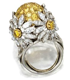 White and Yellow diamond daisy ring by Adler