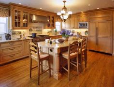 country kitchen with maple cabinets