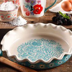 """The Pioneer Women Blue & White 9"""" Ruffle Stoneware Pie Dish"""