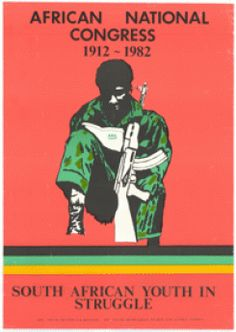Red, green, yellow, black and white poster. Artwork of a soldier reading ANC Speaks booklet, with a rifle.