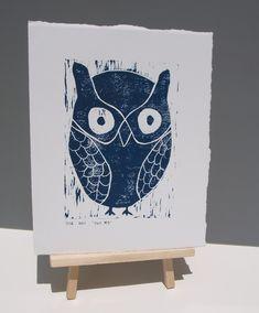OWL Decor Art linocut PRINT Deep Blue Owl 8x10 by RetroModernArt, $30.00