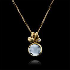 Prime guld halskæde, isblå - Julie Sandlau Webshop