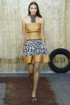 Best Luxe Looks NYFW: Sophie Theallet's Stunning Dream of Africa | Gold and Print Dress with Racer Front Collar | The Luxe Lookbook