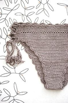 Bikini bottom with tassels Hipster bikini Camel crochet by MarryG