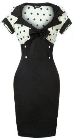 Lady Vintage New Chic 50s Wiggle Pencil Dress in Cream & Black Polka Dot  £33.95