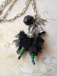 Halloween Queen of the Witches Art-i-cake Charm Necklace by MyTrendyTrinkets